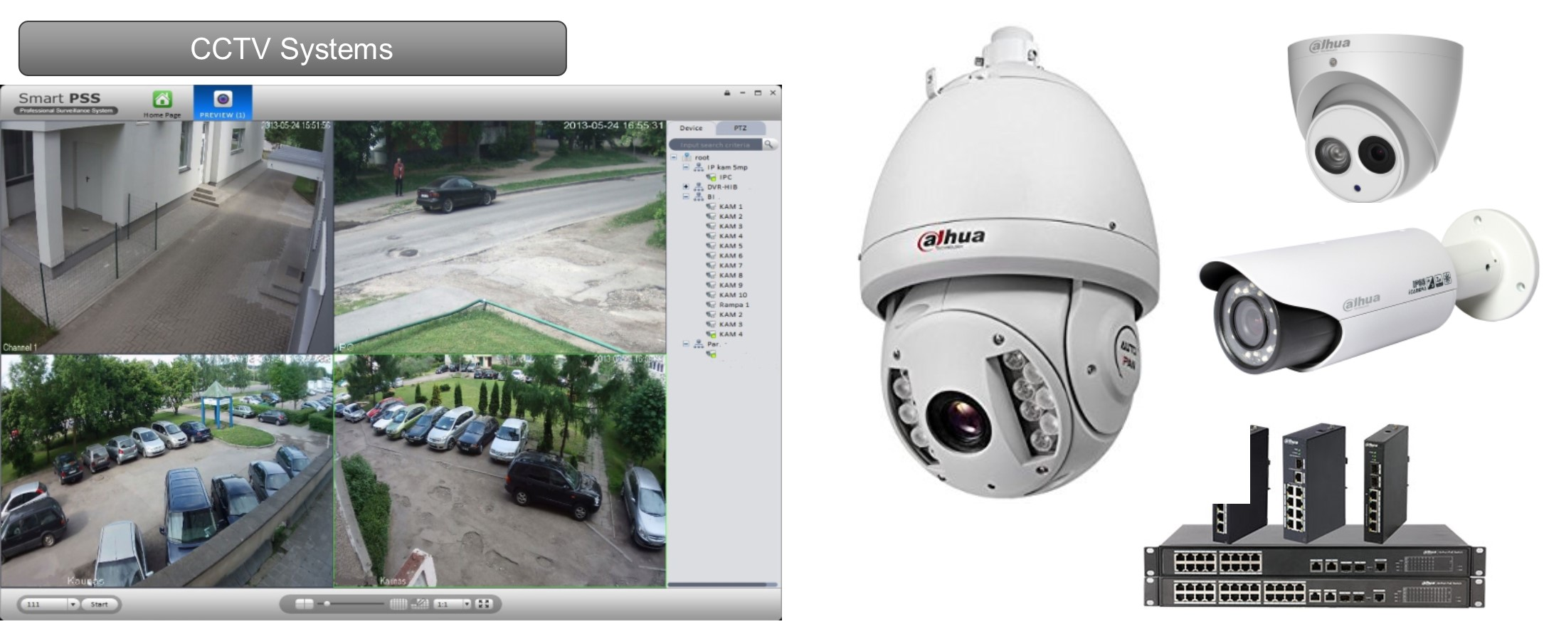 CCTV surveillance systems can greatly enhance security at your home or commercial property. Whether you need a CCTV system for a shop, car park or factory, the benefits include crime prevention, monitoring activity and insurance savings.